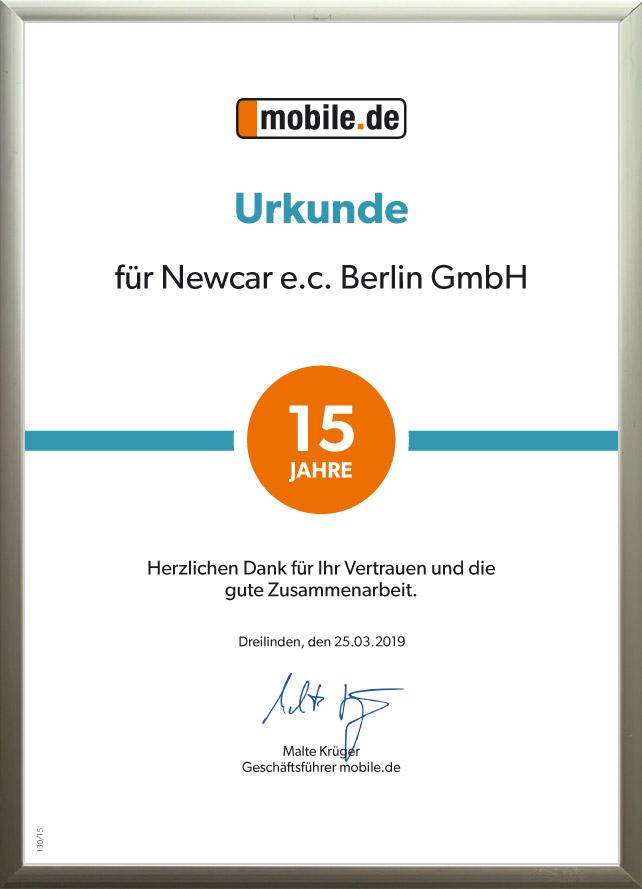Urkunde 15 Jahre Zusammenarbeit mit mobile.de